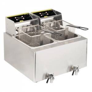 Buffalo Double Fryer - 2 X 8ltr 6kw With Timer