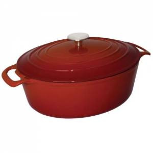 Vogue Enamelled Cast Iron Oval Casserole Red 6L 125mm(h) x 230mm(w) x 305mm(d)