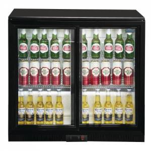Polar Double Sliding Door Back Bar Cooler - Black with LED Lighting