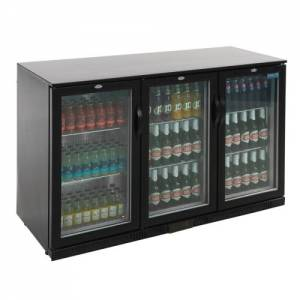 Polar Triple Hinged Door Back Bar Cooler - Black with LED Lighting