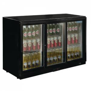 Polar Triple Sliding Door Back Bar Cooler - Black with LED Lighting