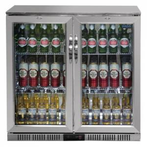Polar Double Hinged Door Back Bar Cooler St/St exterior Al Interior LED Lighting