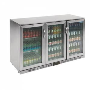Polar Triple Hinged Door Back Bar Cooler St/St exterior Al Interior LED Lighting