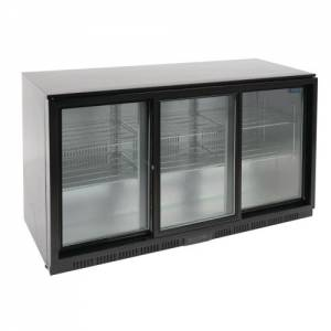 Polar Triple Sliding Door Back Bar Cooler 850mm - Black with LED Lighting