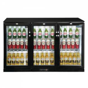 Polar Triple Hinged Door Back Bar Cooler 850mm - Black with LED Lighting