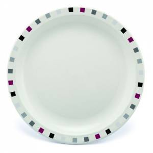 Polycarbonate 23cm Patterned Plate Burgundy Black and Grey Squares