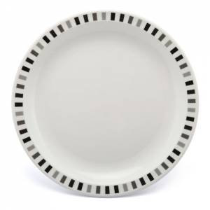 Polycarbonate 23cm Patterned Plate Black and Grey Stripes