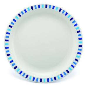 Polycarbonate 23cm Patterned Plate Blue Stripes