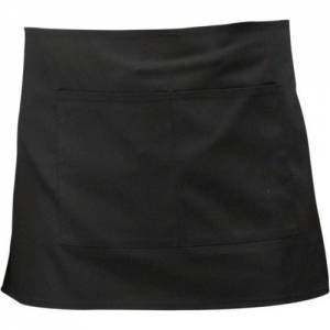 Genware Black Short Apron W / Split Pocket 70cm X 37cm
